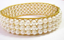 3 Row Freshwater White Pearl Bangle/Bracelet 14k Yellow Gold 61mm Wrist Size