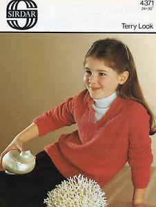 "KNITTING PATTERN BOYS GIRL'S SWEATER SIRDAR TERRY LOOK 24 26 28 30"" 4371"