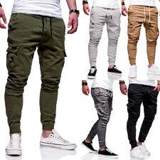 Men's Cargo Overalls Casual Full Pants Pocket Sweatpants Slim Fit Street Trouser