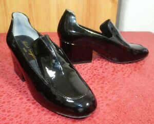 Robert Clergerie Designer Black Patent Leather Block Heeled Court Shoes Uk 3 EU