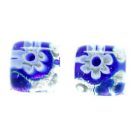 Murano Glass Stud Earrings Blue White Silver Millefiori Handmade Venice
