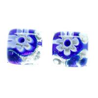 Murano Glass Stud Earrings Blue White Silver Millefiori Handmade Venice
