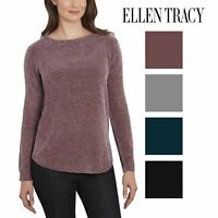Ellen Tracy Womens Soft Chenille Tweed Sweater