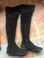 Woman Flat Giuseppe Zanotti Over The Knee balet Boots Suede Leather Cuff 41 11