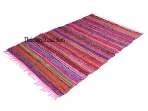 4x6 Ft Multi Pink Rugs Area Rug Living Room Carpet Floor Chindi Hand Woven Rug