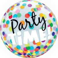 "BUBBLE BALLOON 22"" PARTY TIME! DOTS QUALATEX BUBBLE BALLOON"