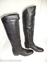 Matiko Over the Knee Black Leather Boots Low Heel Side Zip Womens 6 Mint Upper
