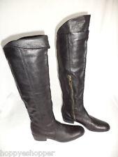 Matiko Over the Knee Black Leather Boots Low Heel Side Zip Womens 6 Mint Upper