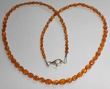 Edelsteinkette Mandarinengranat/Spessartin Ovale,44cm,925er Silber Karabiner