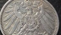 GERMANY 1905 A 1 MARK SILVER COIN VF, details
