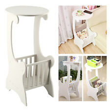 White Wooden Chic Side Lamp Small Round Coffee Table Magzine Rack Bedroom Modern