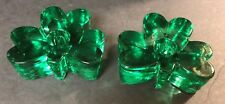 Two Heavy Green Glass Shamrock Candle Holders - Used
