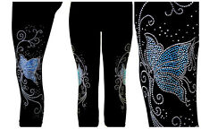Plus Capri Leggings Rhinestone Embellished Pink Blue or Crystal Butterfly Swirl