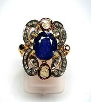 925 Silver Rose Cut Polki Diamond, Pave Diamond & Blue Sapphire Gemstone Ring