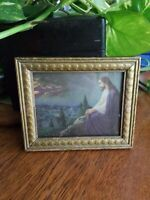 OLD ANTIQUE GOLD WOOD CARVED & GLASS  PICTURE FRAME w/ JESUS LITHO VINTAGE