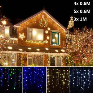 LED Pendant Rideau Lumineux Guirlande Lumineuse Fil Féérique Décor de Fête Noël