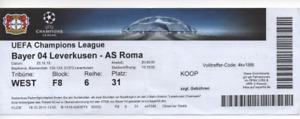TICKET : Bayer Leverkusen v AS Roma 2015 2015/16 UEFA Champions League