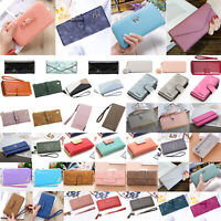 Women's Leather Clutch Wallets Long Card Holder Case Zipper Purse Phone Handbag