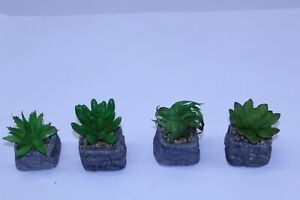 Artificial Succulent Plants Set of 4 in Stone Base