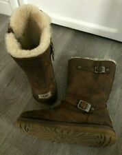 LADIES UGG BOOTS CLASSIC BROWN SUEDE WOOL FUR LINING UK SIZE 6 EU 36 FAB COND!