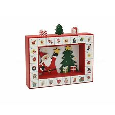 Traditional Santa & Tree Wooden Christmas Advent Calendar Box With Drawers