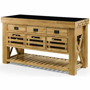 Chester solid chunky oak furniture large granite top kitchen island unit worktop