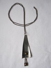 Vintage 1960s Modernist Stainless Steel Tigers Eye Pendant & Chain