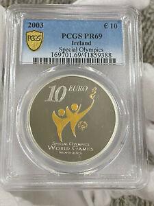 2003 Ireland Silver Proof 10 Euro Special Olympics World Games PCGS PR69 LOC5