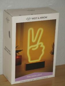 """West & Arrow Mini Neon Led Peace Sign Novelty Table Lamp White 9"""" Battery Or USB"""