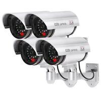 4 Caméras Factice Faux sans Fil Imperméable Système De Surveillance Lumière LED