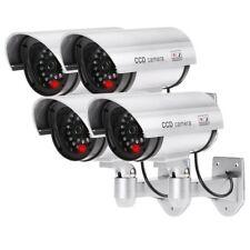 4 Cámaras Simuladas Falsas Inalámbrico Impermeable Sistema de Vigilancia Luz LED