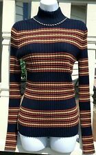 $298 TORY BURCH STRIPED TURTLENECK SWEATER TORY NAVY/BRUSH STRIPE SZ XL NWT