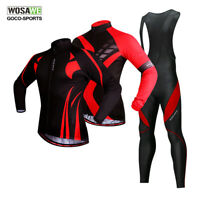 WOSAWE Mens Long Sleeve Cycling Jersey Bib Pants Set Full Zipper Padded Trousers