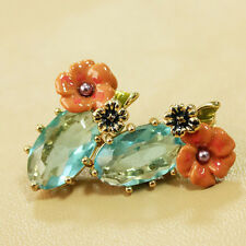 ANTHROPOLOGIE ELEGANT ENAMEL LOOK FLOWER LIGHT BLUE STONE STUD EARRINGS NEW LES