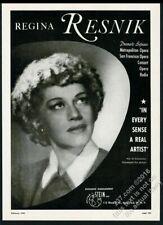 1949 Regina Resnick photo opera singing recital tour booking trade print ad