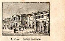 Stampa antica MORTARA piccola veduta stazione ferroviaria Pavia 1898 Old Print
