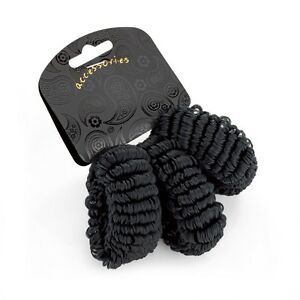 Set of 3 Black Soft Looped Hair Donuts Ponios Bobbles Hair Bands - Accessories