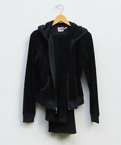 Juicy Couture Women's Sizes S/M Velvet Tracksuit Jacket and Pants - Black Pink