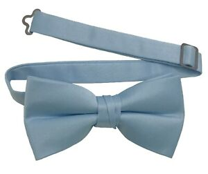 Men's Bow Tie Quality clip on adjustable neck band Satin Solid Pattern Colors