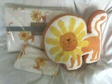 Land Of Nod Kids Full Lion Orange Sheet Set and Lion Pillow NWT NLA