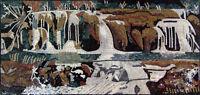 "72""x 34"" Beautiful Natural Water Fountain Falls Mosaic Marble Art Tile Stone"