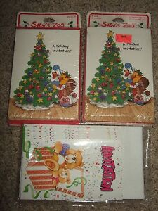 lot unused new in package suzy's zoo christmas invitation cards bear party nip
