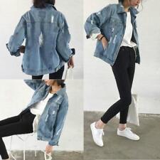 Women Vintage Jeans Coat Denim Jacket Long Sleeve Loose Casual Girl Outwear JJ
