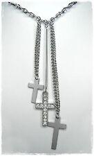 NEU 40cm+6cm HALSKETTE Kreuze KREUZ mit ZIRKONIA STEINE in kristallklar COLLIER