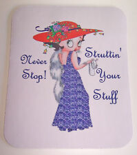 COMPUTER MOUSE PAD W/ BETTY BOOP WEARING A RED HAT & PURPLE CLOTHES