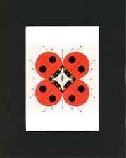 Charley Harper Print Ladybugs, The Last Aphid, Black Matted, Large Style A