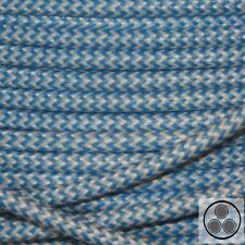 Textilkabel Stoffkabel Lampen-Kabel Stromkabel Hellblau Zack Zack 3 adrig