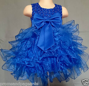 Royal Blue Flower Girl Bridesmaid Pageant Wedding Easter Prom Party Dress 0-24m