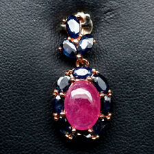 NATURAL 8 X 11mm. PINK RUBY & SAPPHIRE STERLING 925 SILVER PENDANT