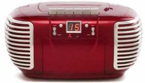 Portable CD Cassette Player with AM FM Radio - Red - Mains or Battery - GPO